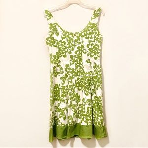 London Times green/white fit and flare dress Sz 10